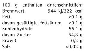 Naehrwerttabelle Weingelee weiss