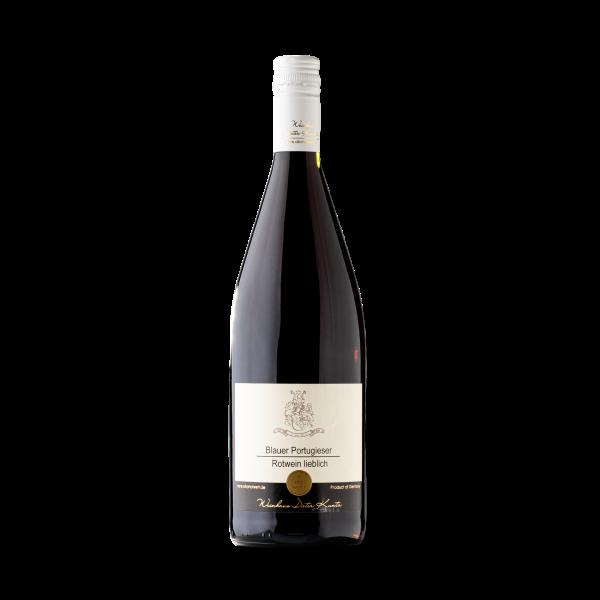 Blauer Portugieser Rotwein lieblich aus der Pfalz in der Literflasche